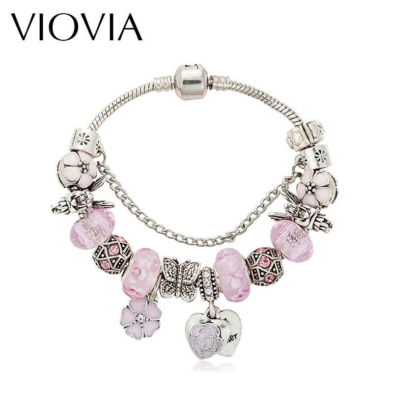 VIOVIA Rhinestone europeo antiguo plata cuentas de colores Pulseras de Moda encanto brazaletes para mujeres joyería en rosa B16014