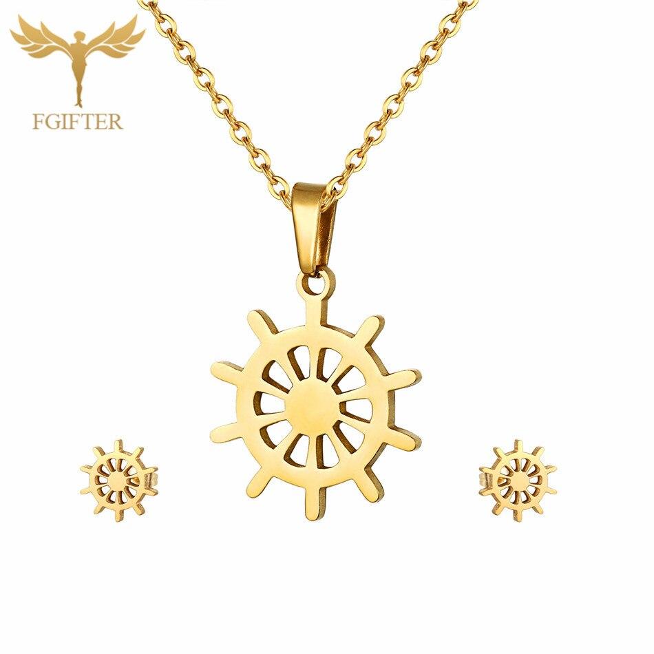 Juego de joyería de timón de ancla de moda, pendientes de tuerca de acero inoxidable de alta calidad, conjuntos de collar con colgante, regalo de Navidad para niñas y mujeres