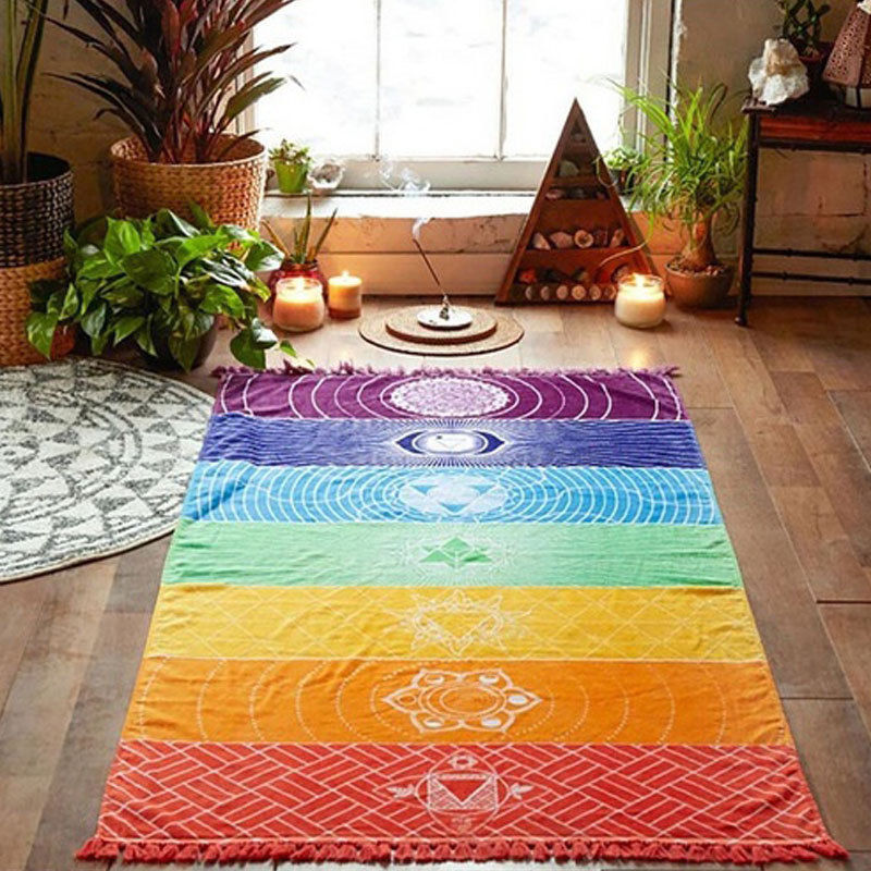 Fashion Rainbow Mandala Blanket Wall Hanging Tapestry Boho Strip Beach Travel Towel Summer Tassel Colorful Yoga Mat Decor Carpet