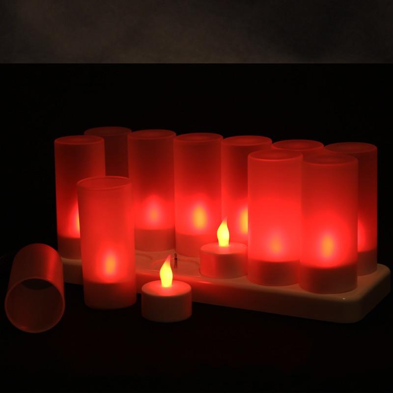 12 peças Cintilação vela Vermelha levou recarregável, Bateria Sem Chama levou kaarsen oplaadbaar, cor mudar Tealights Para massagem