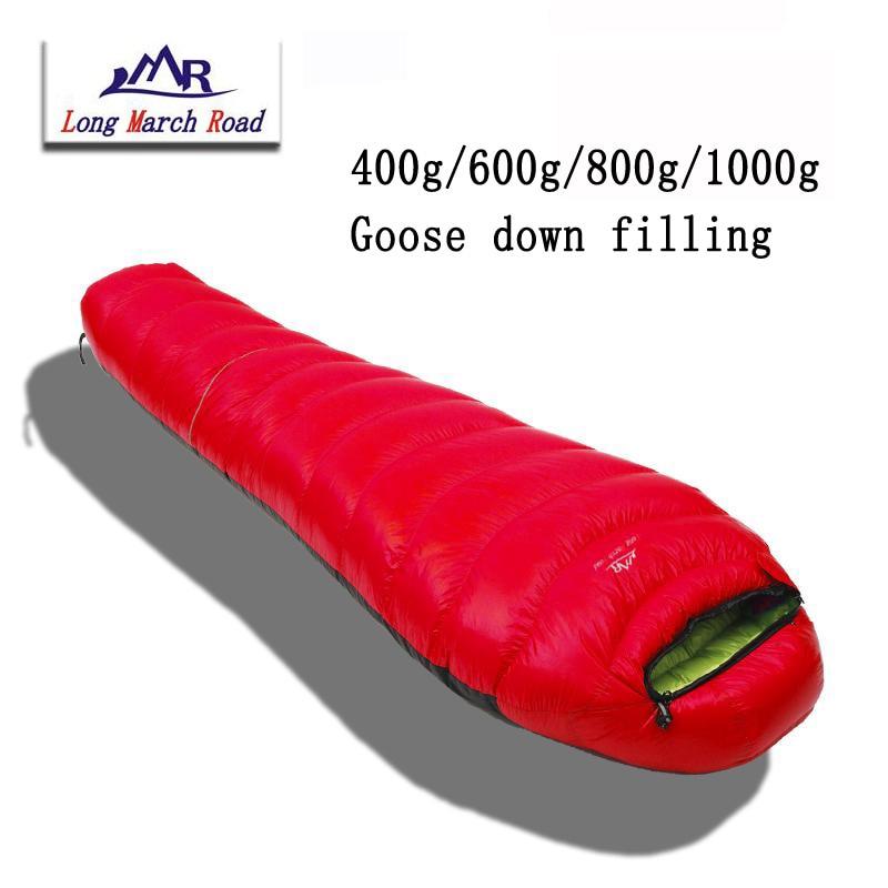 Lmr ultraleve pode ser emendado enchimento 400g/600g/800g/1000g ganso branco para baixo saco de dormir