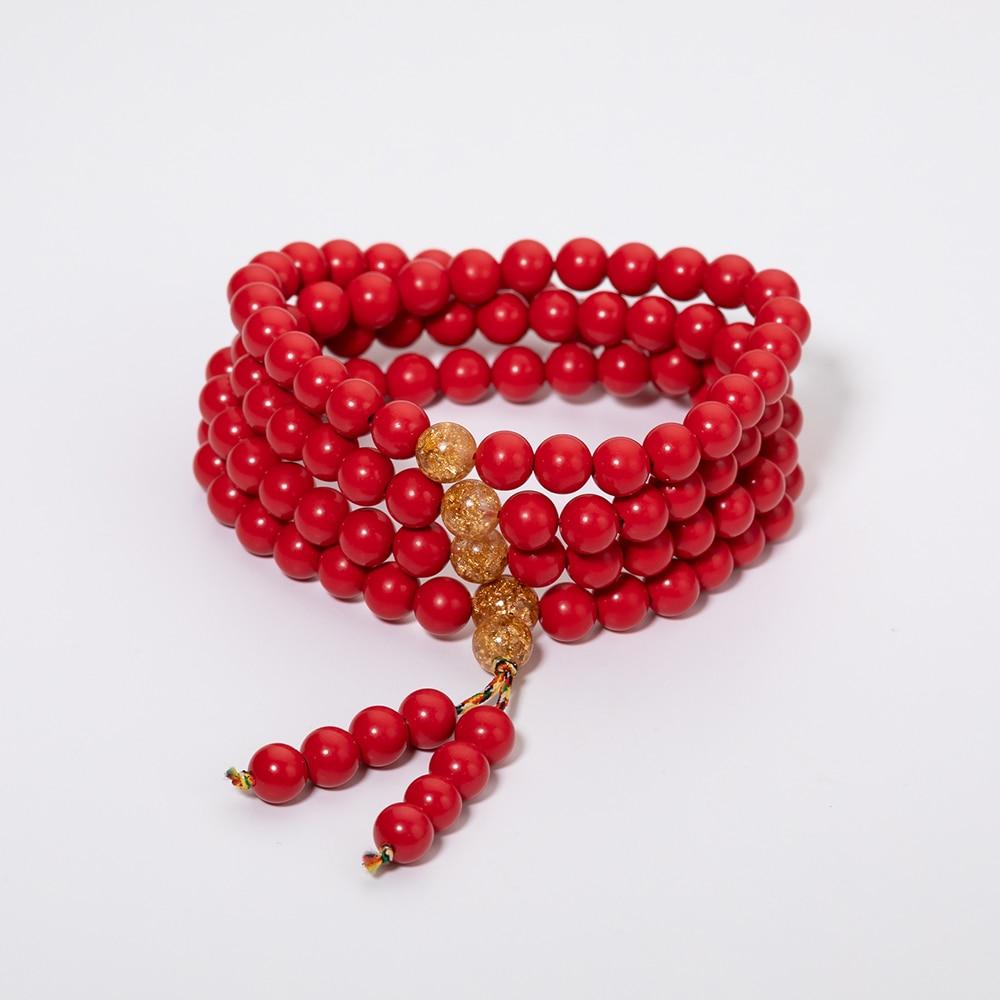 Meajoe Trendy Multilayer Cinnabar Chain Bead Bracelet Charm Round 6 7 8mm Beads Long Bracelets Jewelry For Women Gift