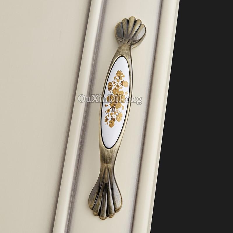 HOT 10PCS European Antique Kitchen Door Furniture Handles Ceramic Printing Cupboard Drawer Wardrobe Cabinet Pulls Handles&Knobs