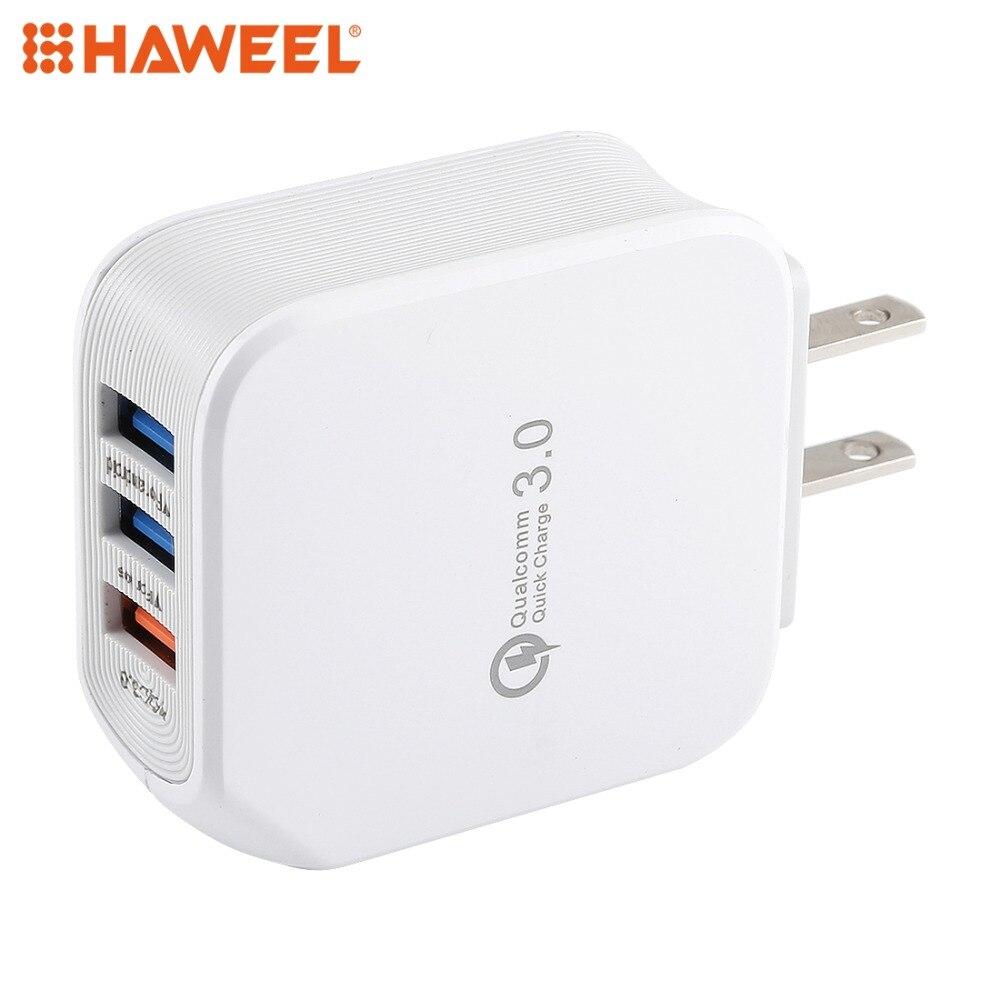 HAWEEL 5A 3 puertos USB cargador de viaje, enchufe de EE. UU. Para iPhone, Galaxy, Huawei y otros teléfonos inteligentes