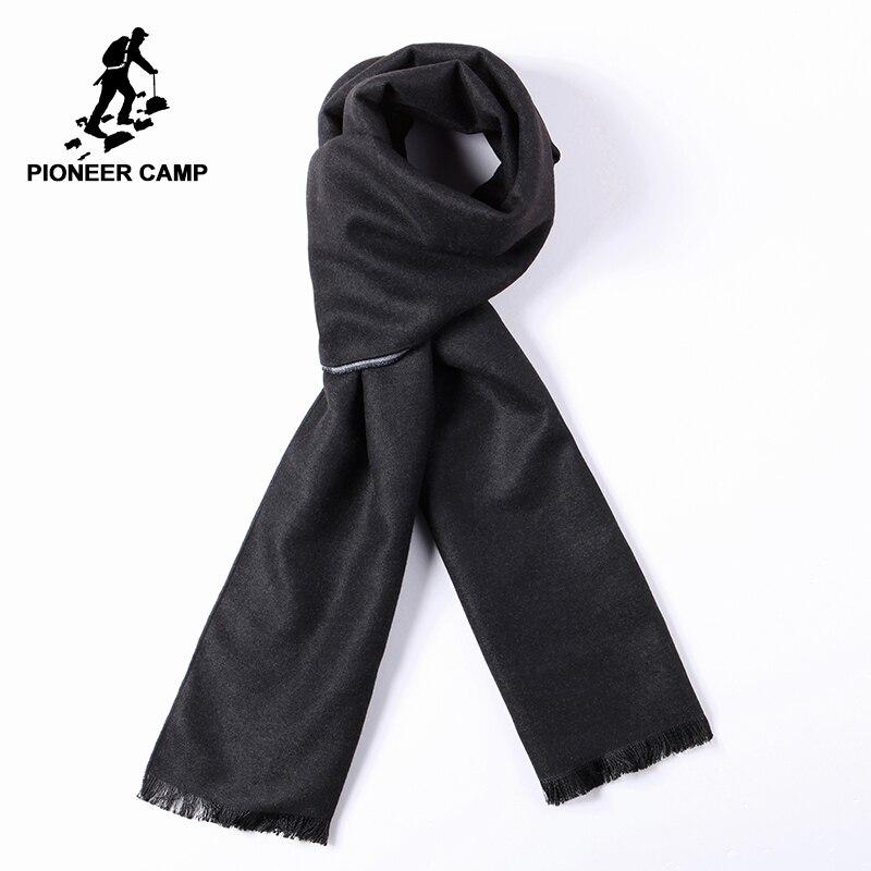 Pioneer camp novo estilo quente cachecol para homem com caixa de presente famosa marca macio sólida cachecóis masculino preto outono inverno awj701391a