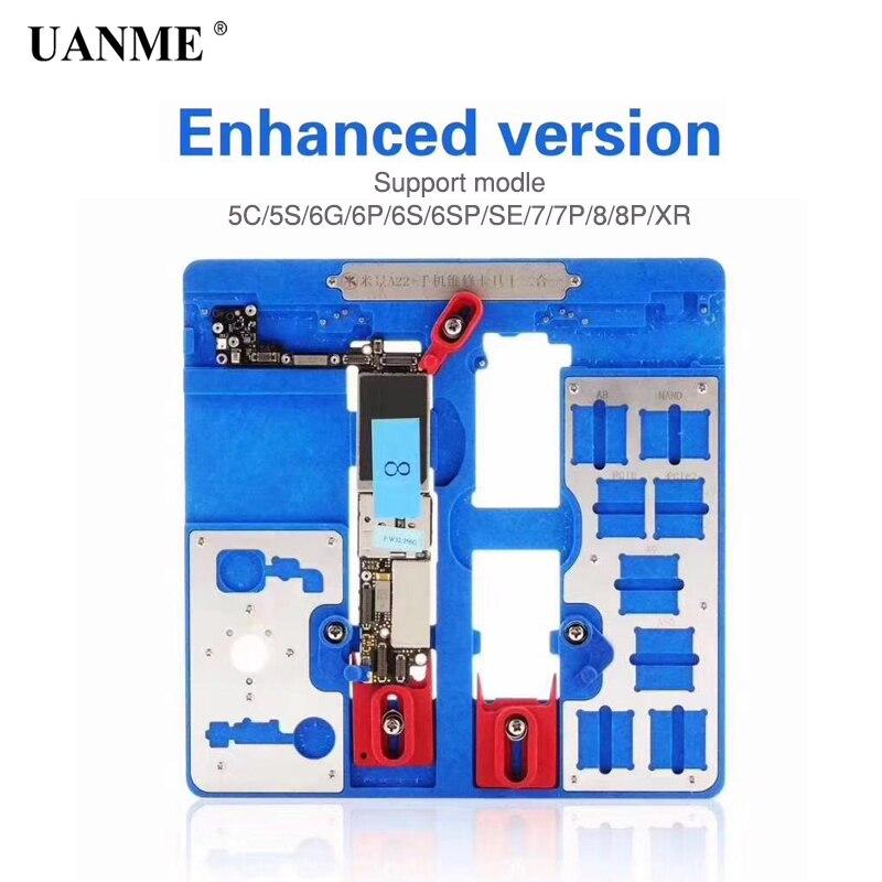 UANME 12 in 1 Phone Repair Motherboard Fixture For iPhone 5C 5S SE 6p 6S 6SP 7 7P  8 8P XR  CPU Chip Repair Tools PCB Holder jig 10pcs 1608a1 1610a1 1610a2 1610a3 610a3b 1612a1 for iphone 5g 5s 5c 6 6p 6s 6splus 7g 7p 8 8p x u2 charger ic usb charging chip