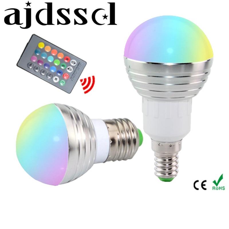 Bombilla LED RGB E27 E14 AC85-265V 5 W, foco LED RGB, iluminación RGB mágica regulable para vacaciones + Control remoto IR en 16 colores