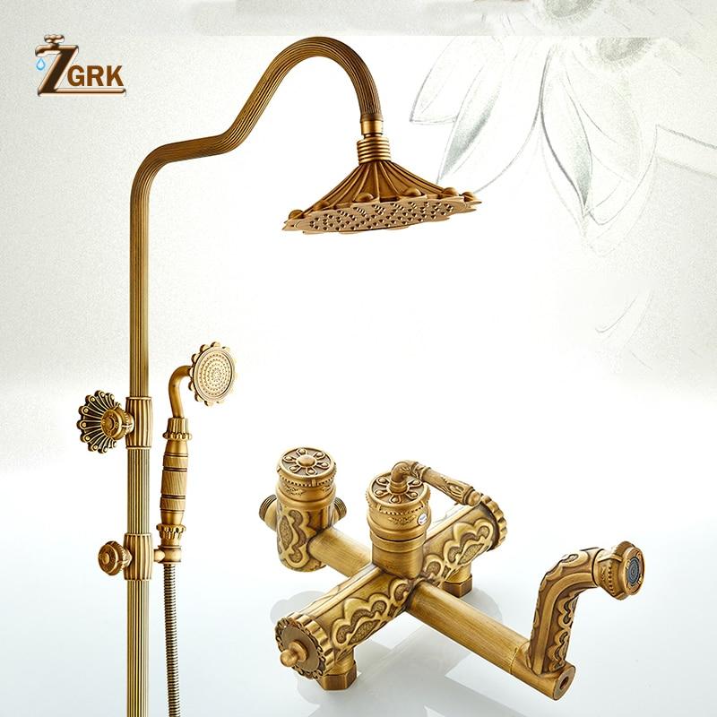 ZGRK Shower Faucets Antique Bathroom Faucet Brass Bath Rainfall With Spray Head Bidet Tap Europe Set