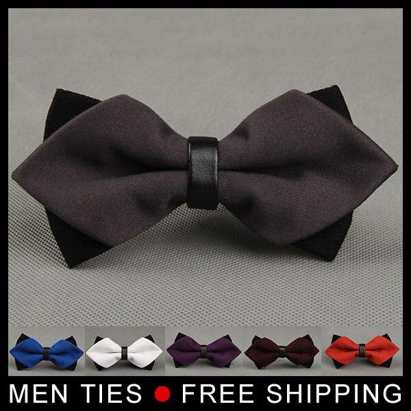 Pajaritas de novio formales para hombre, corbatas de lazo de color liso, doble capa para hombre, corbata de mariposa, corbata para hombre, para negocios, para boda