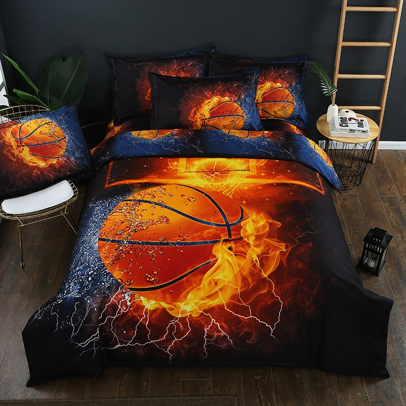 3D لهب كرة السلة الفراش مجموعة الطباعة غطاء لحاف مجموعة أغطية الاتحاد الأوروبي/AU/الولايات التوأم الملكة الملك حجم السرير الكتان هدية ل صبي