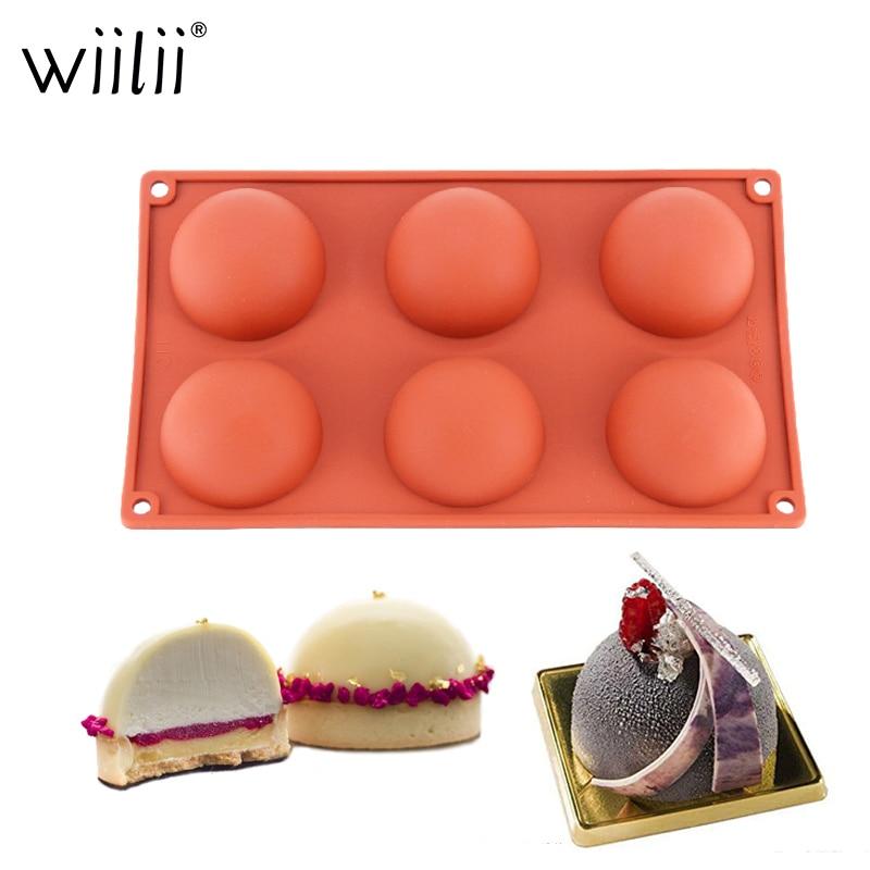 6 cavidad la mitad en forma de círculo 3D de silicona molde para hornear pasteles para hacer postres de Chocolate Decoración