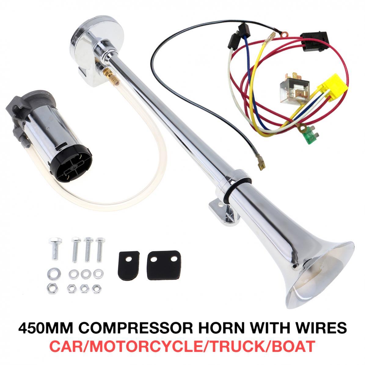 17 Inch 12V/24V 150DB Super Loud Single Car Trumpet Air Horn Compressor Car Horn Speaker Kit for Cars Trucks Boats Motorcycles