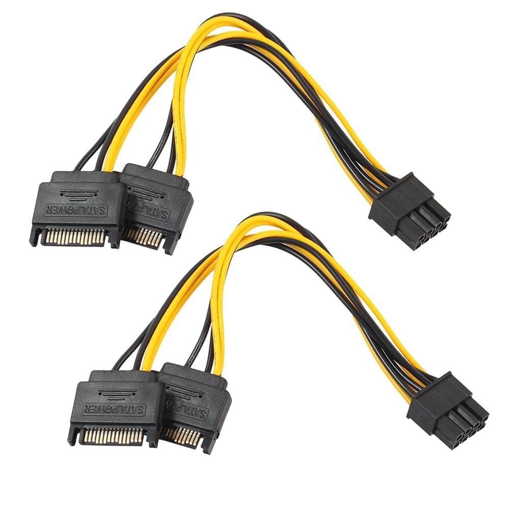2 шт. двойной 15pin SATA папа для PCIe 8Pin(6 + 2) папа PCI Express PCI-E видео карта сплиттер адаптер питания кабель