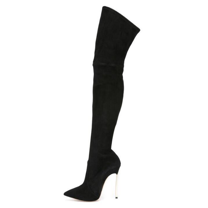 ¡Oferta! botas por encima de la rodilla para mujer, puntiagudas, tacones, botas elásticas de gamuza negra, botas altas hasta el muslo de invierno para Plus