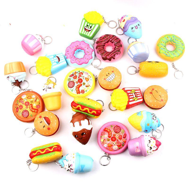 Juguetes antiestrés para aliviar el estrés, dispositivo blando y lento para salchichas, helado Kawaii, decoración de alimentos y verduras artificiales