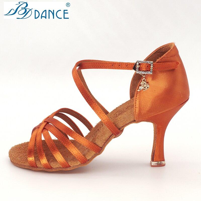 BDDANCE zapatos de baile latino auténtica señora adulto nuevo tacón alto Fondo suave nacional estándar práctica sandalias diamante bayoneta 216