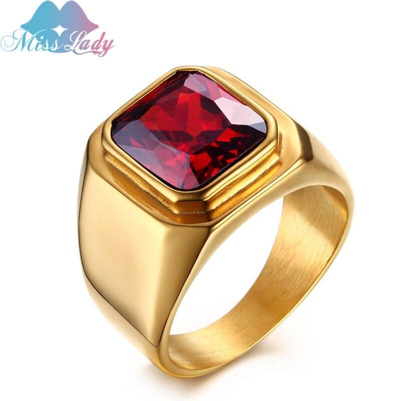 Anillos de boda de Zirconia de acero inoxidable granate joyería masculina superpiedra roja anillo de color dorado de acero titanio