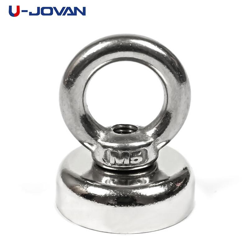 U-JOVAN Diameter of 25mm Silver Super Fishing Powerful Eyebolt Ring Magnets Deep-sea for Strong Magnet Circular