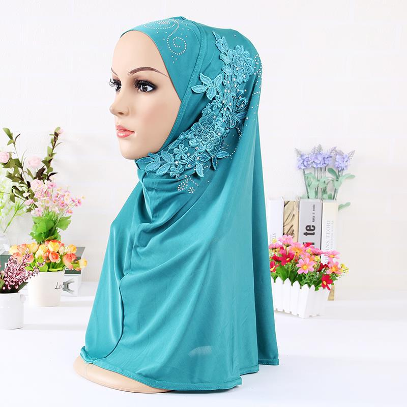 Модный мгновенный хиджаб с аппликацией, Нижний шарф, шапка с бриллиантами, мусульманский женский цельный хиджаб, закрывающий длинную шею, ж...