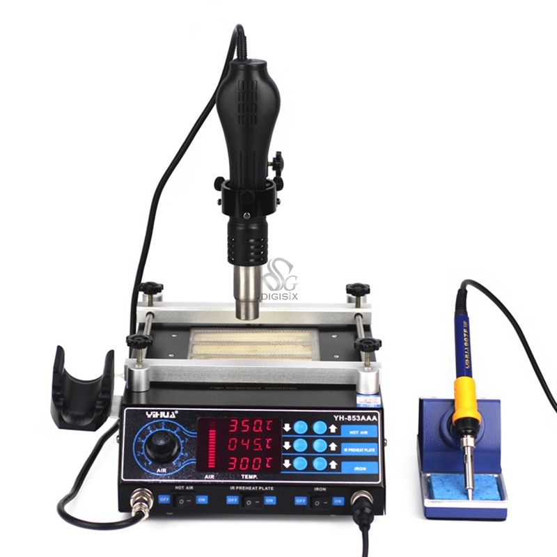 853AAA BGA Rework Machine with hot air gun, preheating station PCB Preheater Soldering Station BGA Rework Station 3 zones hot air optical precision optical alignment system bga rework station for phone reparing