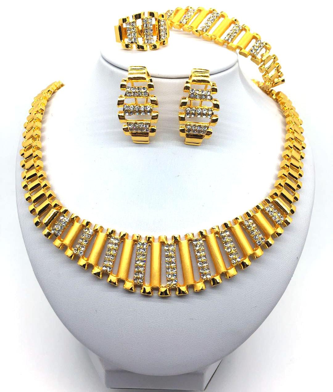F & Y Jóias 2019 de Noiva Dubai Conjuntos de Jóias de Ouro de Design Criativo de Cristal Colar Pulseira Brincos Charme Presente Jóias Mulheres