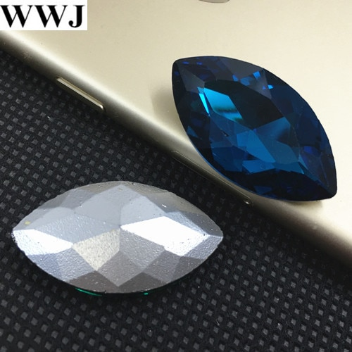 Azul zircon Cor Navette Fantasia Stone Horse Eye Cristal De Vidro Para Jóias Making3x6mm4x8mm5x10mm, 7x15mm, 9x18mm, 13x27mm, 17x32mm