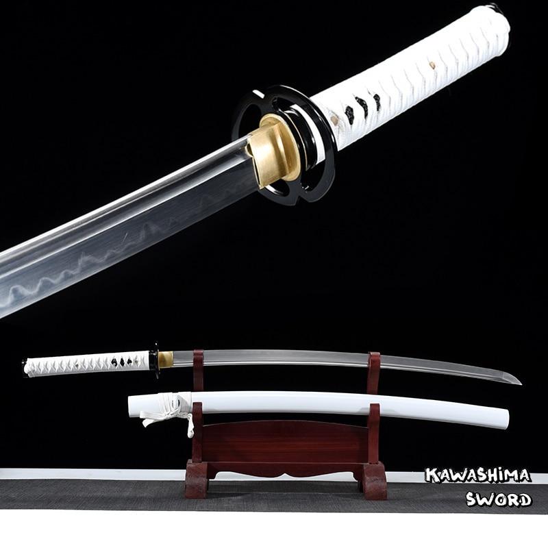 سيف ساموراي T10 مصنوع يدويًا من الطين الصلب ، كاتانا ، كامل ، جاهز لقطع الخيزران ، جديد ، أبيض