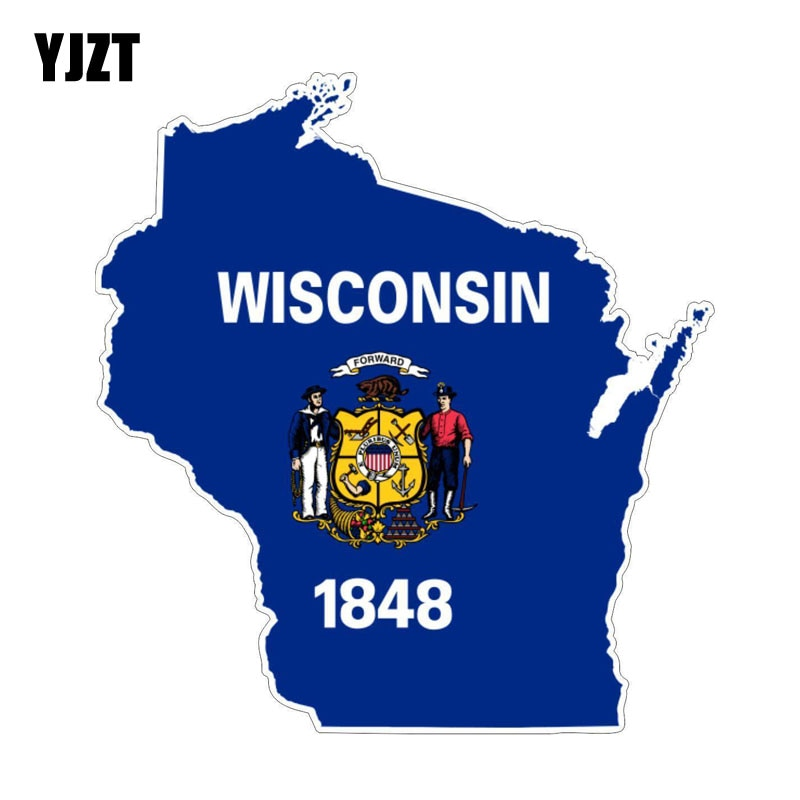 YJZT 16CM*15.2CM Wisconsin USA Flag Map Car Sticker Reflective Decal Car Accessories 6-1245
