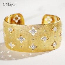 CMajor pur argent bijoux mode vintage creux trèfle à quatre feuilles bracelets saint-Patrick manchette bracelets pour femme