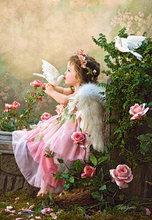 Kit de point de croix brodé anges   Broderie, baiser fille, artisanat mignon 14CT de personnes non imprimées, décor artistique fait à la main