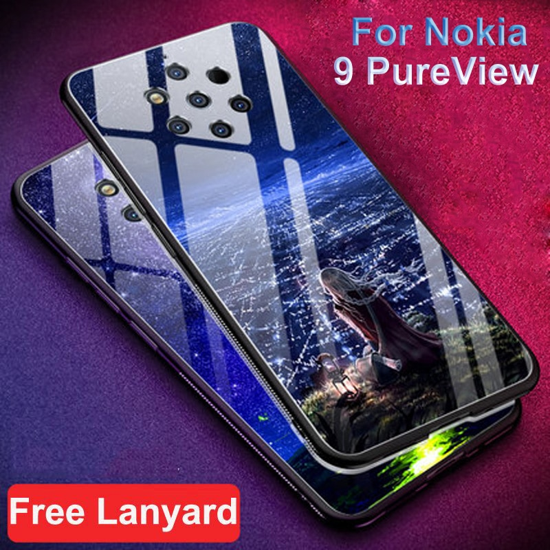 Funda para Nokia 9 PureView, funda de teléfono dura de cristal templado con estrellas estrelladas para Nokia 9, funda de cristal puro, funda Nokia9 PureView bag