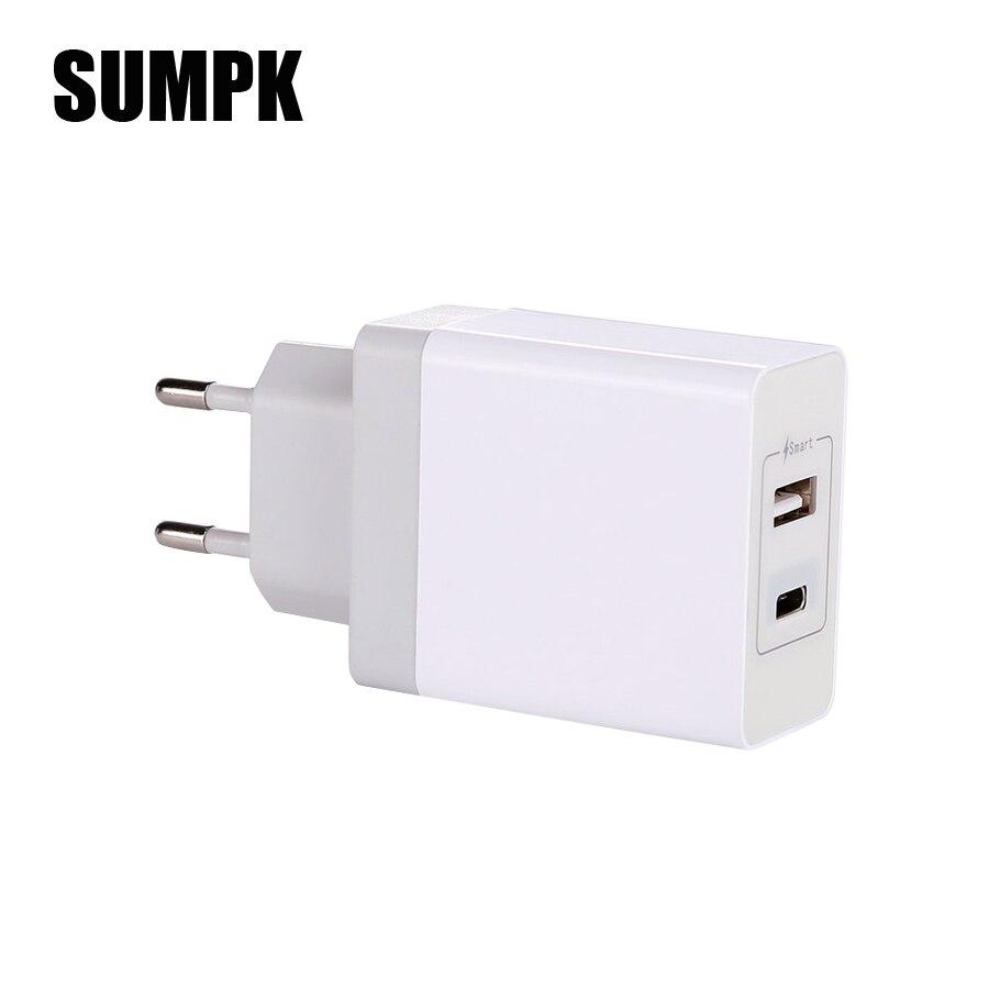 SUMPK USB Type C настенное зарядное устройство быстрое USB Type C зарядное устройство для мобильного телефона PD зарядное устройство для iphone 8 X Samsung Galaxy ...
