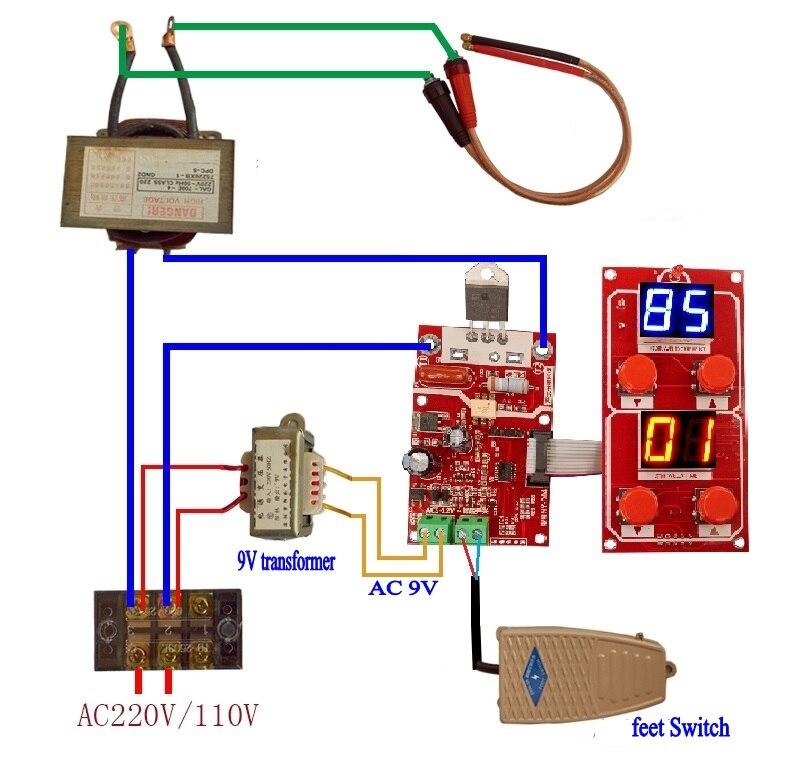 NY-D04 100A двойной дисплей точечная сварочная машина трансформаторный контроллер панель управления Отрегулируйте ток времени