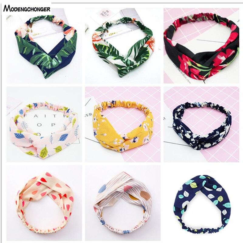 Diademas de verano bohemios de impresión de bandas de pelo Retro Cruz turbante banda de flores banda para Mujer Accesorios para el cabello de niña