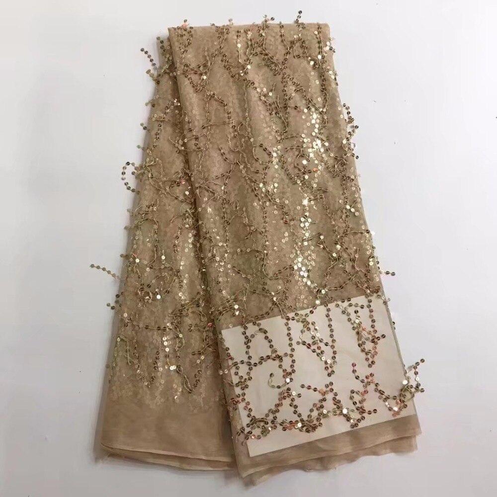 Encaje de red de lentejuelas nigerianas francesas de alta calidad de 2018, tela de encaje de malla de tul africano para vestido de fiesta 5 yardas/lote YL121202