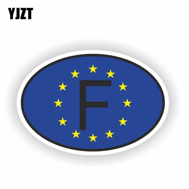 YJZT 11,4 см * 7,7 см Забавный F, французский код, овальная наклейка на окно автомобильного шлема 6-2182