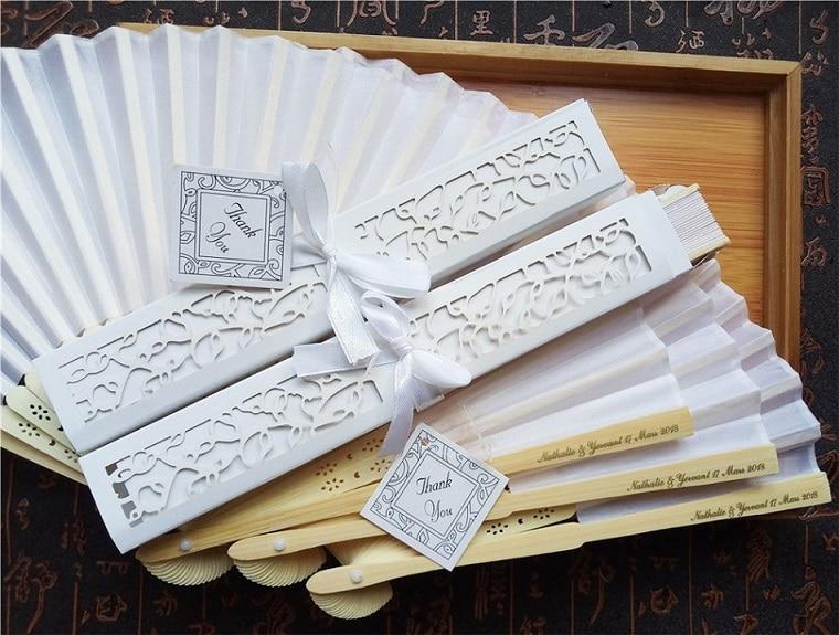 140 قطعة/الوحدة شخصية فاخرة الحرير أضعاف مروحة اليد في أنيقة الليزر قطع هدية صندوق حفلة Favors/هدايا الزفاف الطباعة