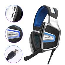 SENICC Gaming Headset com Malha Earmuff Virtual 7.1 placa de Som USB LED Com Cancelamento de Ruído Fones De Ouvido Para Computador Gamer LOL PS4 PUBG a8