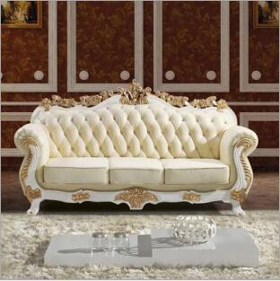 high quality  European  antique living room sofa furniture genuine leather set 1063
