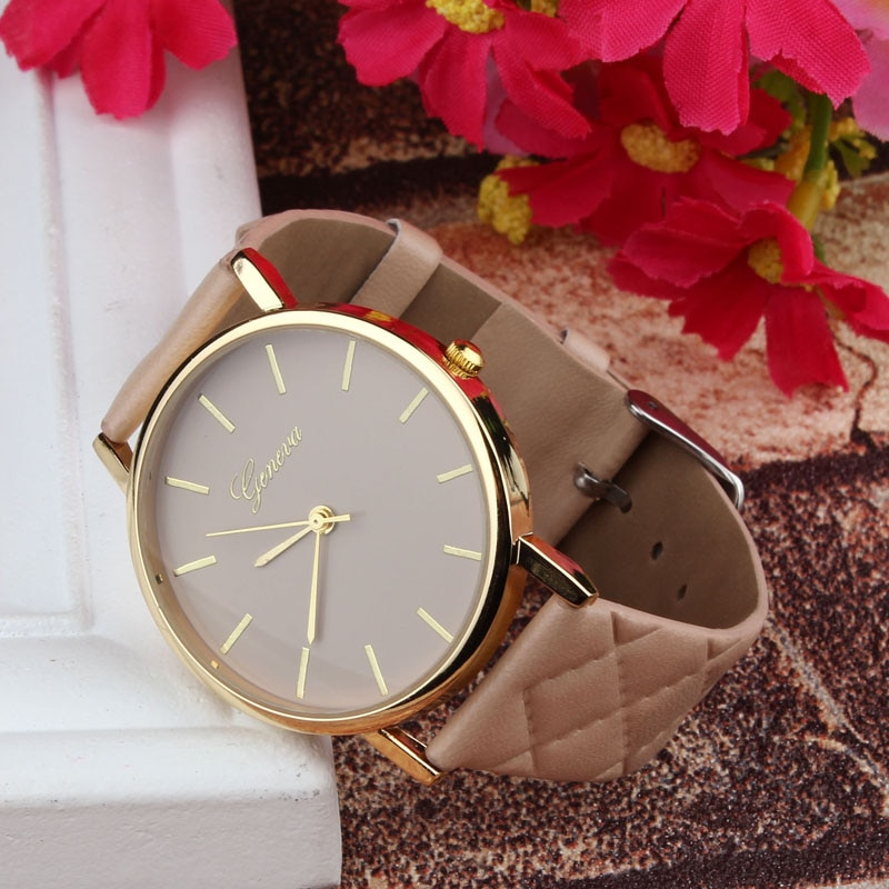 Relojes de mujer, reloj de mujer, reloj zigarek damski Geneva Unisex informal, damas de imitación, cuero, cuarzo, analógico, zegarek damski