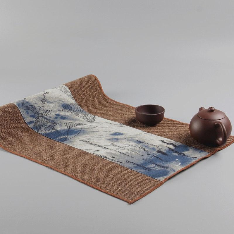 Tea Beauty Handmade tea matsChinese Table Runner Retro National Style For Kung Fu Tea High-Quality Chinese Crafts Linen Tea Mat