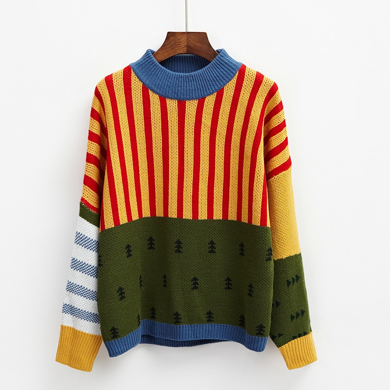Female Korean Harajuku Clothing For Women Winter New Loose Wild Mosaic Students Sweater Jumper Womens Sweaters Kawaii Ulzzang