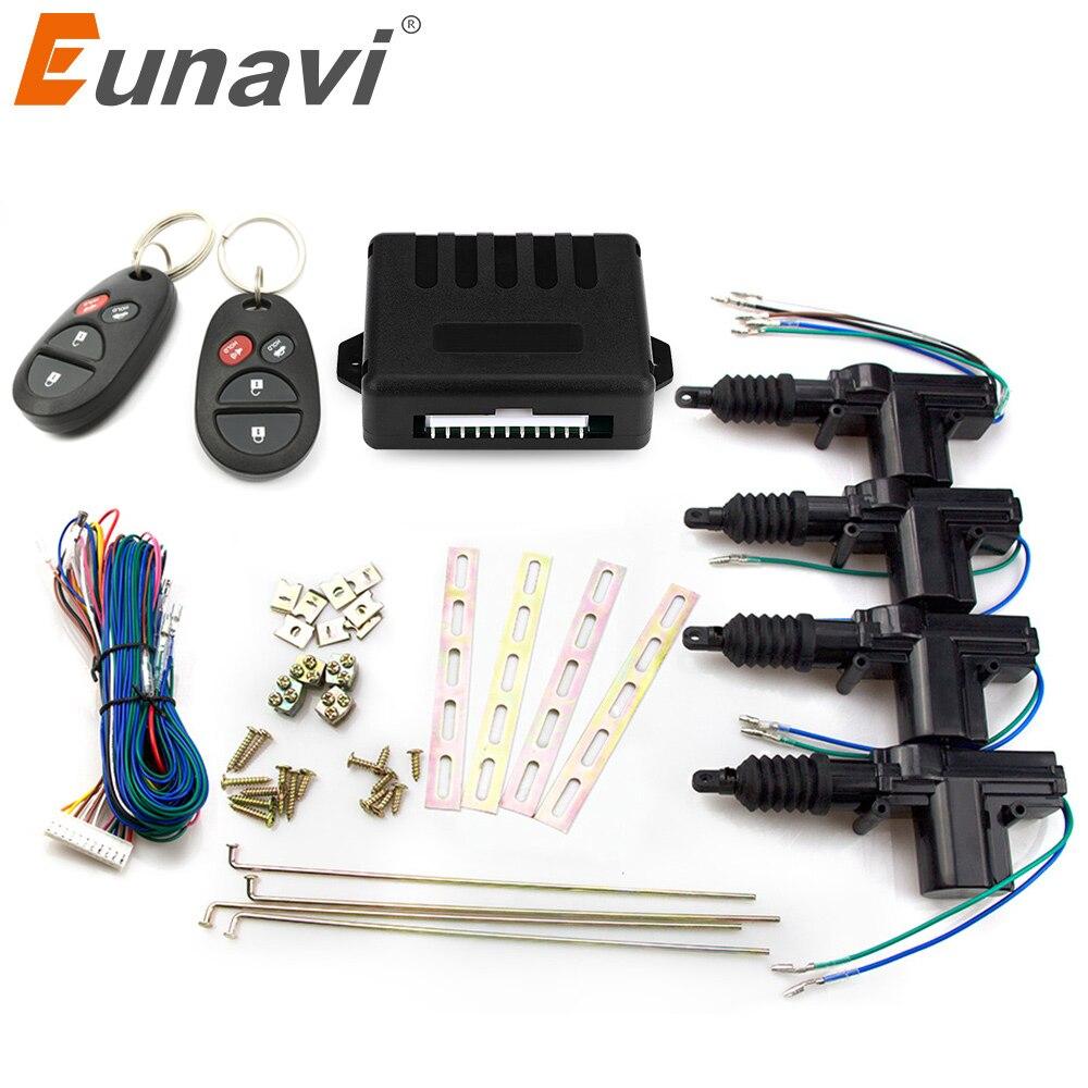 Eunavi Universal Car Power Door Lock Actuator 12V Motor (4 Pack) Car Remote control Central Locking Keyless Entry System