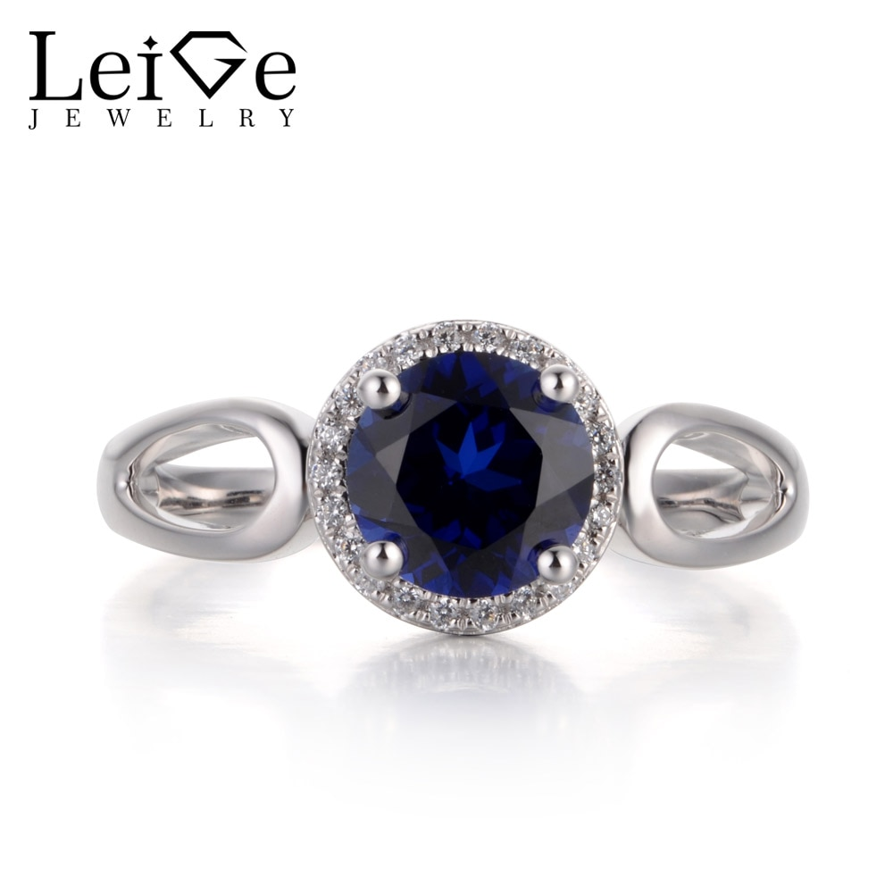 Leige Lab Jóias Cor Azul Safira Gemstone Corte Redondo Prong Definindo Setembro Birthstone de Halo Anéis de Noivado Para A Mulher