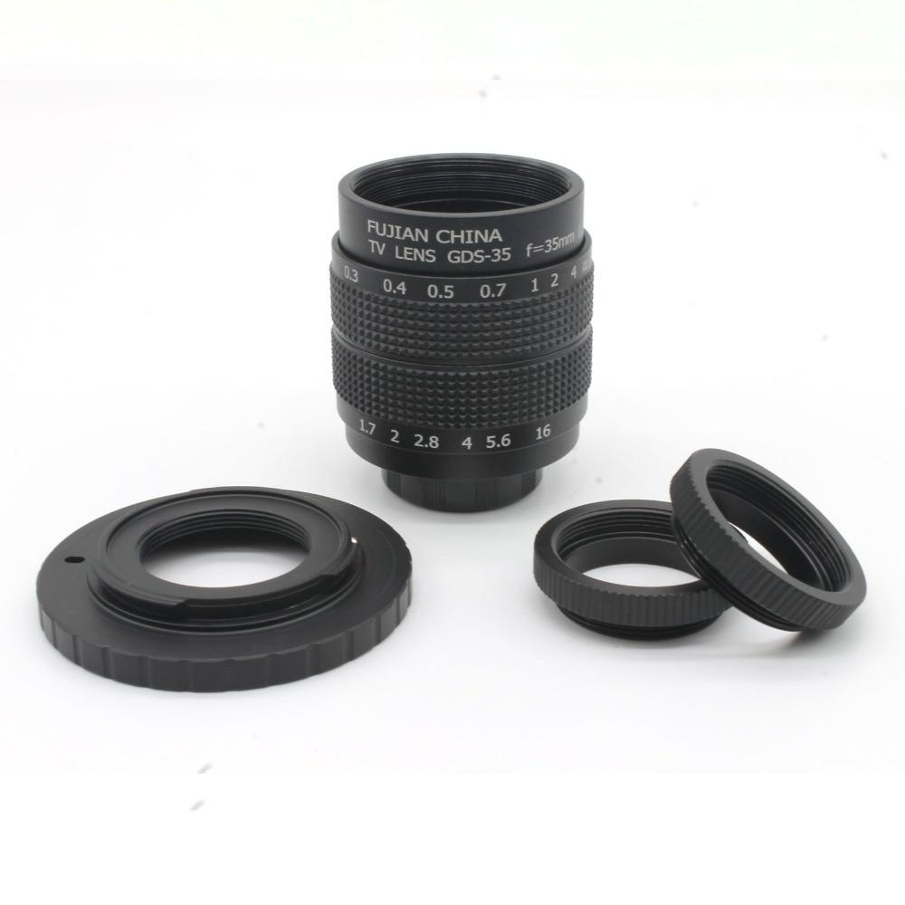 Objectif CCTV noir 35mm f1.7 + monture C + 2 anneaux Marco pour Nikon 1 V1 J1 V2 J2 livraison gratuite
