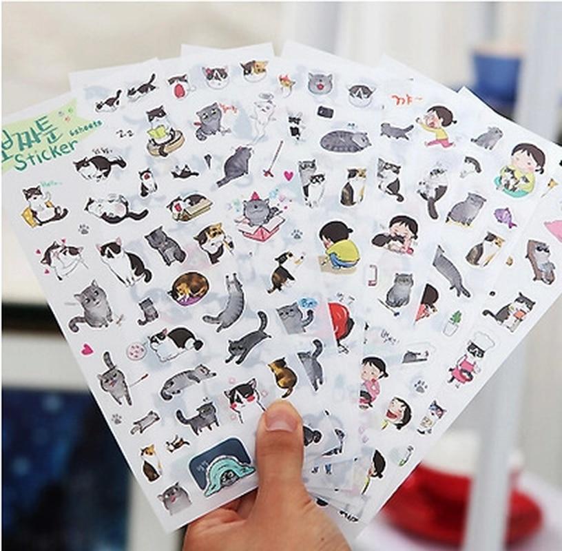 6pcs/pack Creative  PVC cute self-made summer cat stickers scrapbooking stickers /decorative sticker /DIY craft photo albums