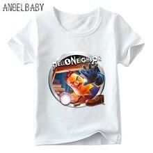 Детская футболка с принтом «Hello Neighbor Game» летняя футболка с короткими рукавами для маленьких девочек Повседневная забавная Одежда для мальчиков ooo5225