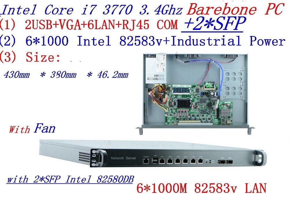 INTEL I7 3770 de 3,4 Ghz 1U rack tipo de servidor cortafuegos con 6*6*1000 M 82583v LAN Gigabit 2 * SFP apoyo ROS/Router Mikrotik PC Barebone