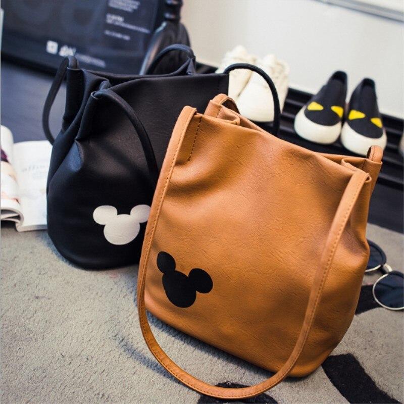 Mulheres famosas marca mickey bolsa de couro do plutônio organizador pequeno bonito balde saco mensageiro sacos femininos bolsas 5 cores