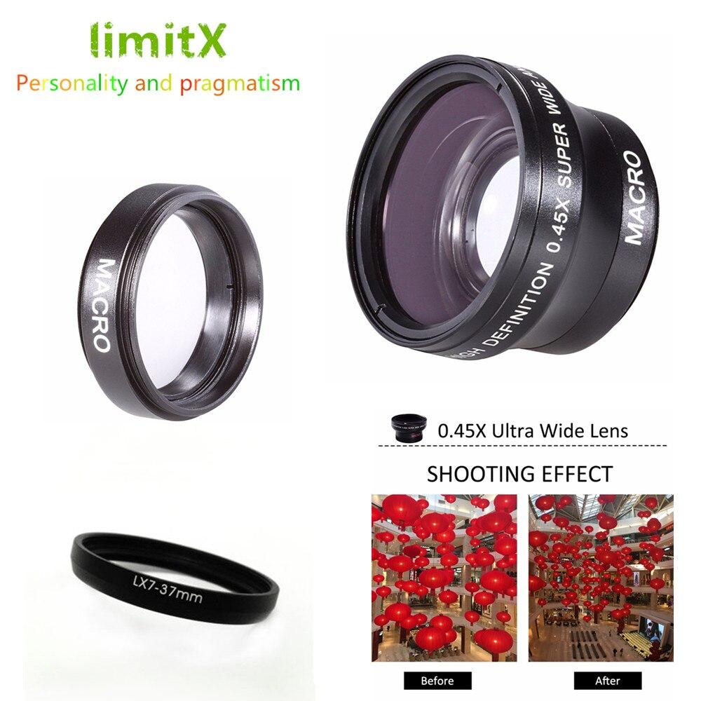 Lente Super gran angular de 37mm 0,45x con Macro para cámara Digital Panasonic Lumix DMC-LX7 LX7